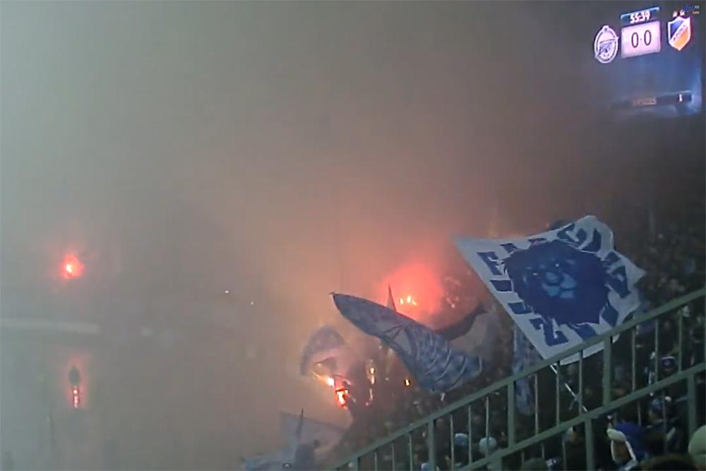 23 ноября 2011 года в матче группового этапа Лиги чемпионов фанаты зажгли файеры и создали дымовую завесу на стадионе. Игра прерывалась два раза, арбитр рассматривал вариант технического поражения «Зенита», Роман Широков назвал фанатов «дебилами». «Зенит» был оштрафован на 50 тысяч евро.