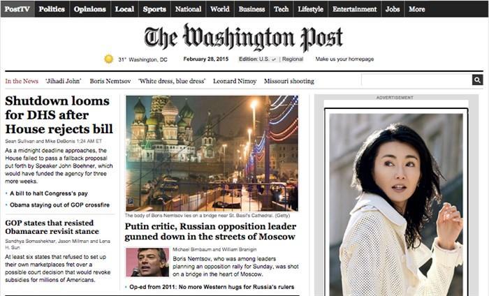 «Критик Путина, российский оппозиционный лидер застрелен на улицах Москвы». The Washington Post, США