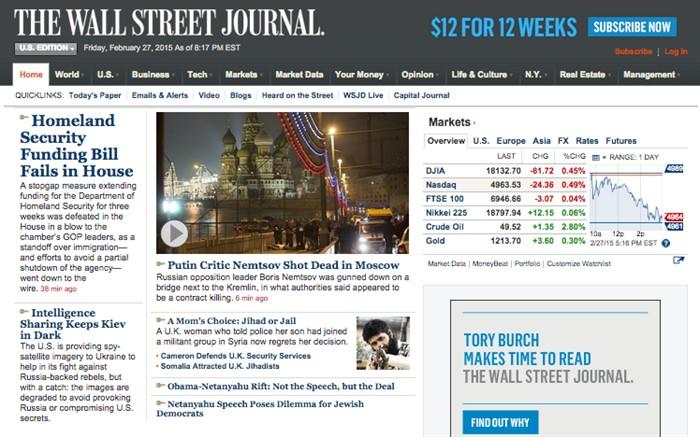 «Критик Путина Немцов застрелен в Москве». The Wall Street Journal, США