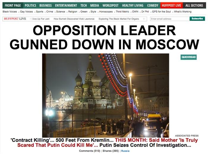 «Оппозиционный лидер застрелен в Москве». The Huffington Post, США