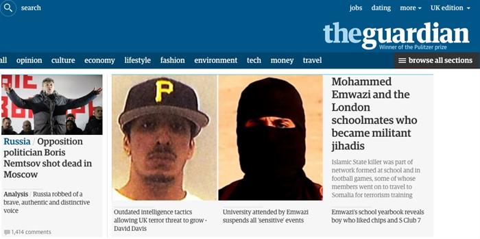 «Оппозиционный политик Борис Немцов застрелен в Москве», The Guardian, Великобритания