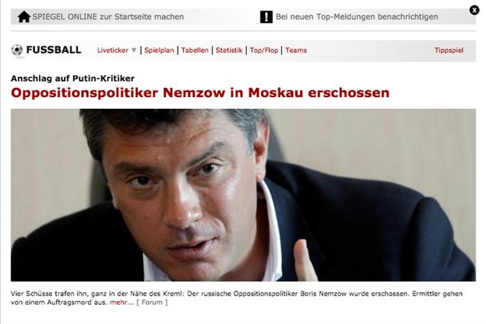 «Застрелен оппозиционный политик Борис Немцов», Spiegel Online, Германия