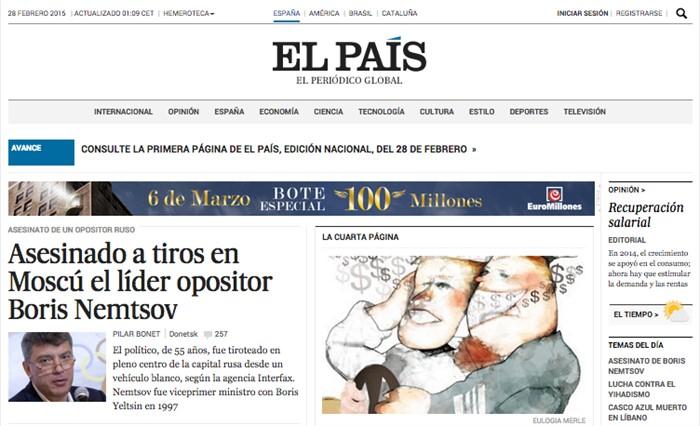 «Лидер оппозиции Борис Немцов застрелен в Москве», El Pais, Испания