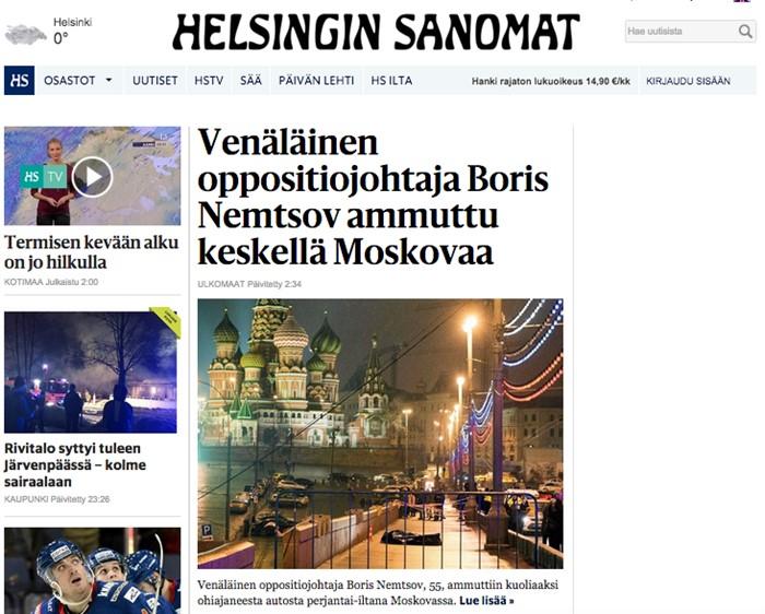 «Российский оппозиционный лидер Борис Немцов застрелен в центре Москвы», Helsingin Sanomat, Финляндия