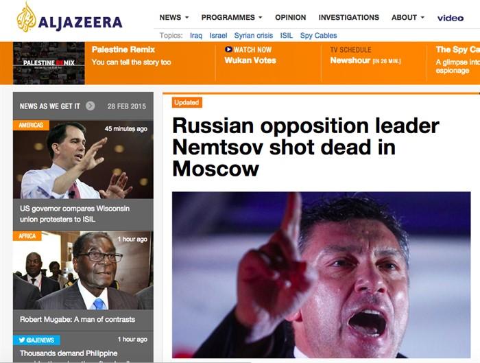 «Российский оппозиционный лидер убит в Москве», Al Jazeera, Катар