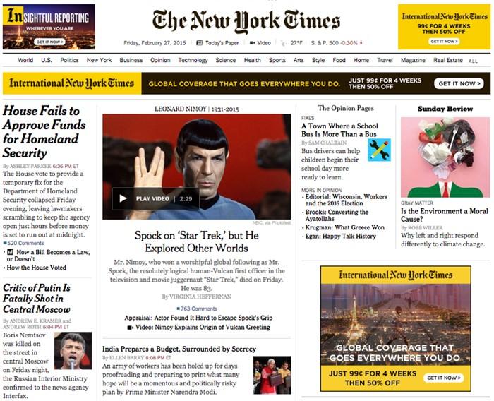 «Критик Путина смертельно ранен в центре Москвы», The New York Times, США