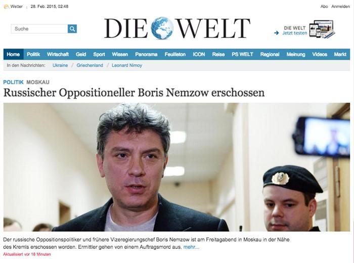 «Застрелен российский оппозиционер Борис Немцов», Die Welt, Германия