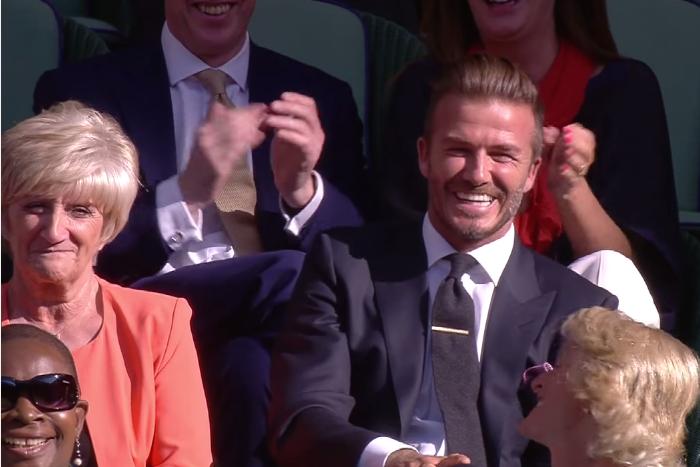 Как Дэвид Бекхэм пришел с мамой на полуфинал Уимблдона и поймал теннисный мяч одной рукой: видео