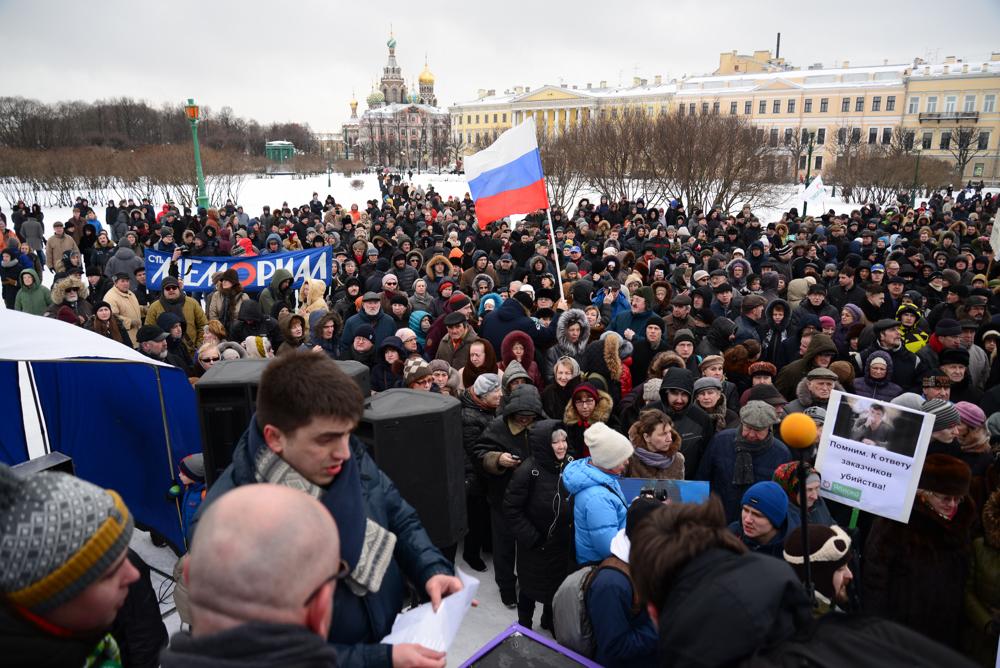 Видео и фоторепортаж акции памяти Бориса Немцова год спустя после убийства: несколько тысяч человек пришли на Марсово поле
