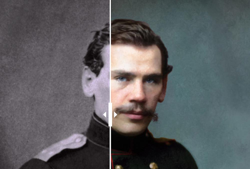 Российская художница раскрасила черно-белые фото Толстого, Чехова, Горького и других писателей