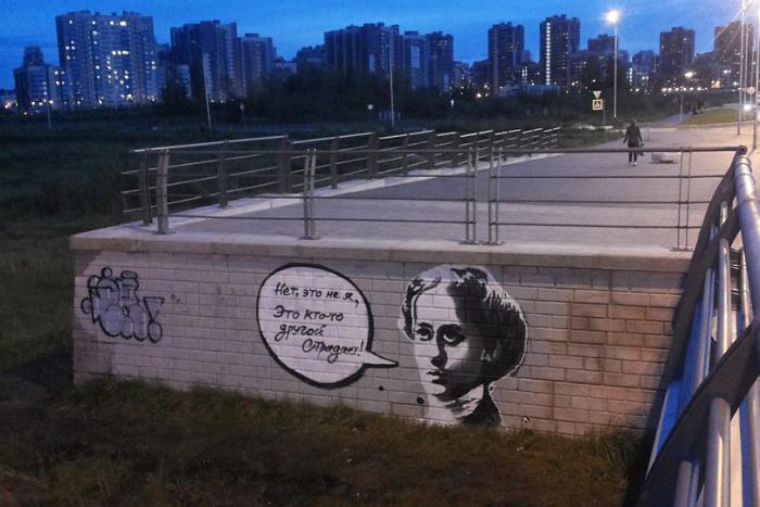 Неизвестные нарисовали на мосту Кадырова портрет Анны Ахматовой