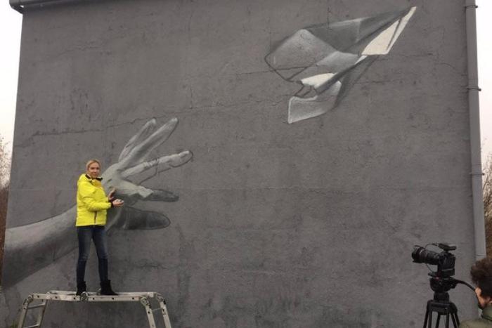 Около аэропорта Пулково появилось граффити в память о жертвах авиакатастрофы над Синаем