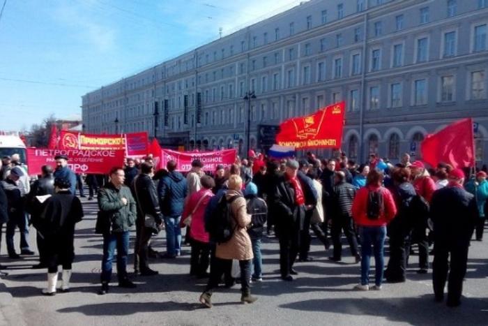 Первомайское шествие в Петербурге. Прямая трансляция