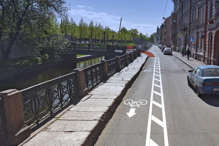 Активисты предложили создать в центре Петербурга новые велополосы. Они нанесли маршруты на карту и показали, как дорожки будут смотреться на улицах