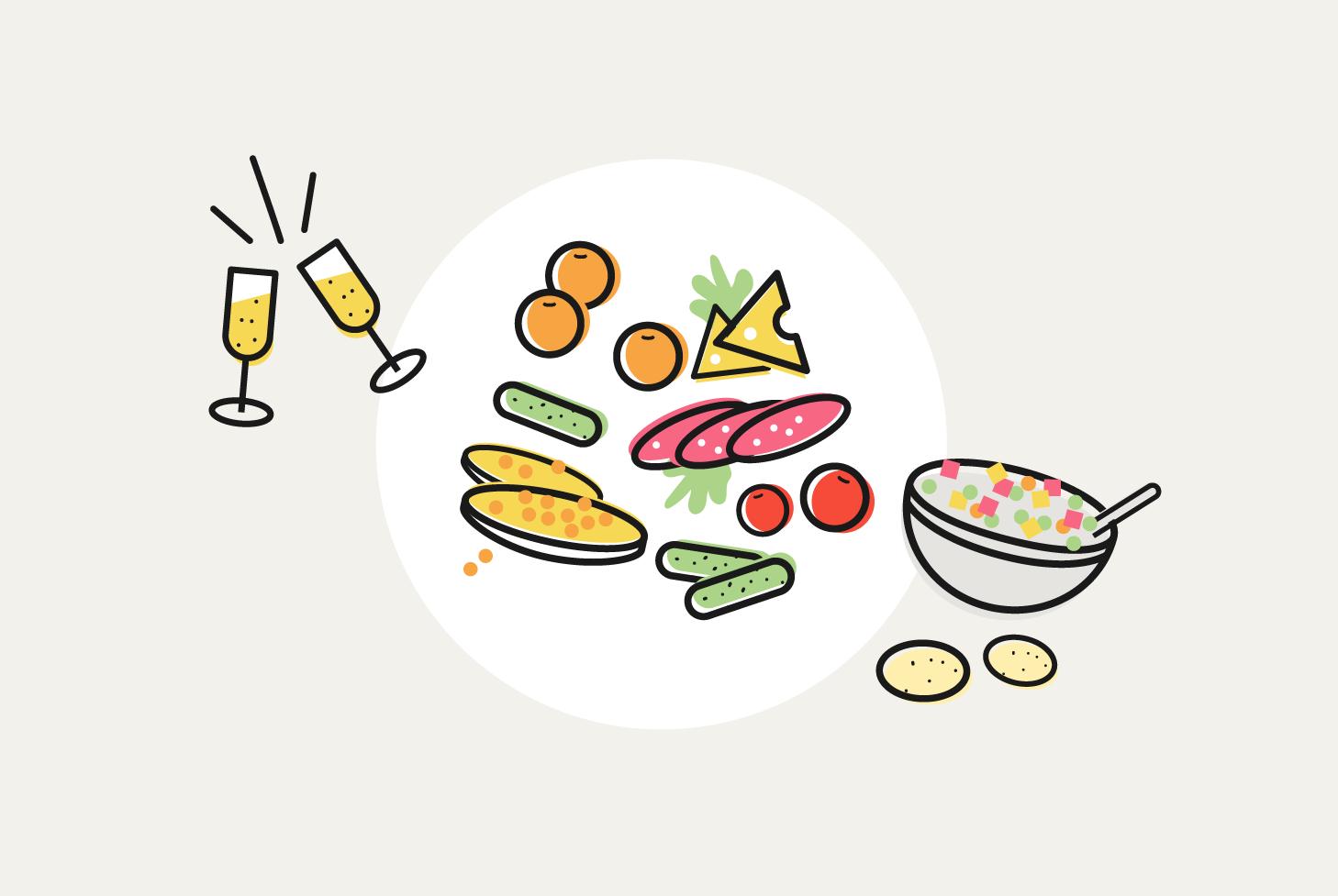 Во сколько петербуржцам обойдется новогодний стол в 2017 году и как изменились цены игристого вина иоливье — в одной иллюстрации