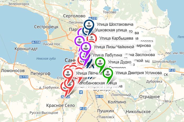 В Петербурге создали интерактивную карту улиц и скверов, названных в честь героев России