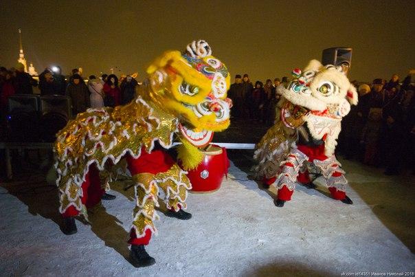 Зажженные Ростральные колонны, красный Дворцовый мост и драконы: как в Петербурге отметили китайский Новый год