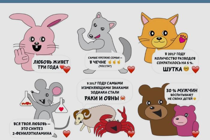 «Самые крепкие семьи — в Чечне»: Студия Артемия Лебедева выпустила телеграм-стикеры к 14 февраля