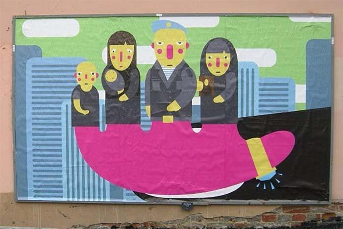 Уличный художник Миша Маркер — о картине по мотивам «Трех билбордов», анонимности иреакции прохожих на плакаты прополицию и чиновников