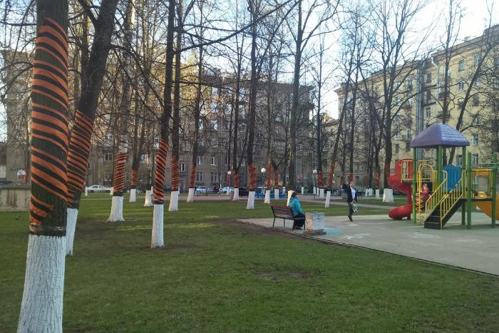 В Петербурге двор нарядили ко Дню Победы. Все деревья укутали гигантскими георгиевскими лентами