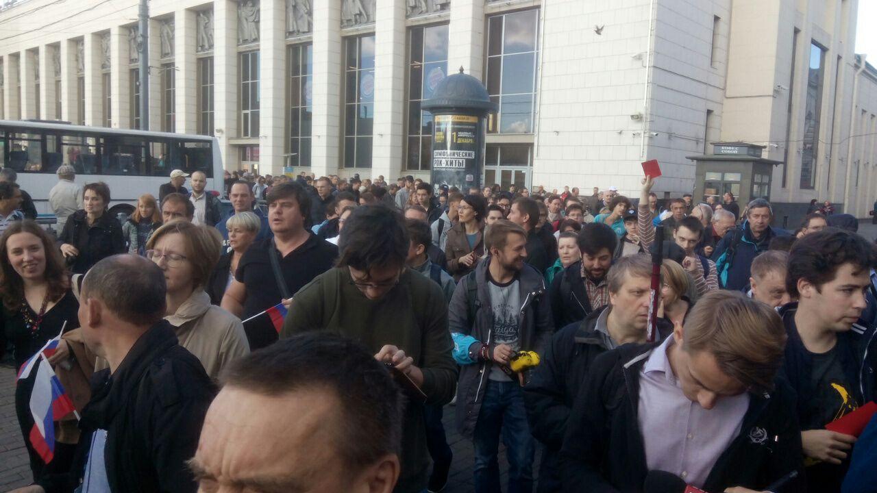 В Петербурге прошла акция против повышения пенсионного возраста. Полиция задержала двух участников