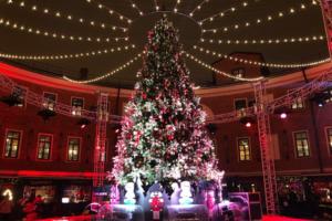На Новой Голландии начала работать праздничная ярмарка. Посмотрите, как выглядят киоски с подарками и наряженная елка 🎄