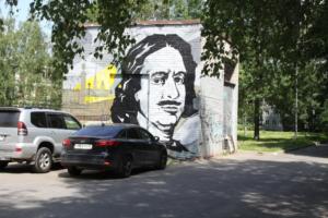 На трансформаторной будке на Индустриальном проспекте появился стрит-арт с Петром Первым
