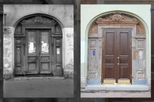 На Большом проспекте Петроградской стороны с домов снимают исторические двери. Кто этим занимается и как жители борются с заменой дверей
