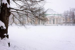 Помните, как много снега было прошлой зимой? Сравните фотографии центра Петербурга, сделанные с разницей в один год