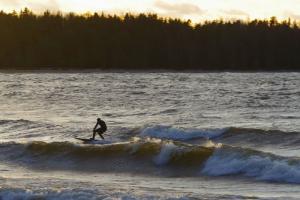 «Такая зимняя сказка»: как петербуржцы в январе серфят на Финском заливе