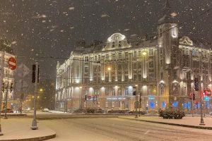В Петербурге ночью шел снегопад — а утром всё растаяло. Посмотрите, каким красивым был заснеженный город