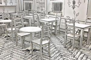На набережной Мойки работает кафе, интерьер которого напоминает черно-белый рисунок