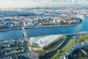«Газпром нефть» показала концепцию застройки Охтинского мыса. Это два стеклянных здания с общественным парком у набережной