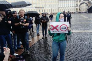 На Дворцовой площади прошла акция «Стоп Поправки». В ней участвовали более 100 человек