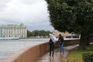 В Петербурге прошел ливень со штормовым ветром — по улицам летали куски кровли, деревья падали на машины и перекрывали дороги