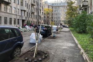 У дома Бассейного товарищества активисты высадили 12 лип. Местные жители долго не могли получить согласование на посадку деревьев