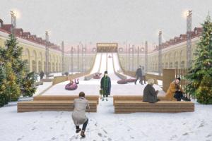 В «Никольских рядах» появится большая зимняя горка и смотровая площадка. Там пройдет рождественская ярмарка, если эпидситуация не ухудшится