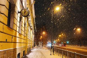 Полюбуйтесь снимками заснеженного Петербурга — при свете фонарей и днем. 11 фотографий