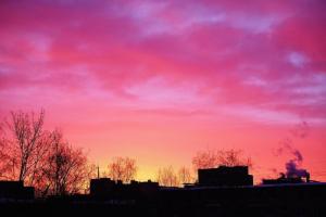 «Проснулся от того, что вся комната залита алым». Ярко-красный рассвет в Петербурге — в десяти фотографиях
