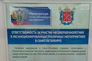 В петербургском метро заметили плакаты об «ответственности за участие несовершеннолетних в несанкционированных публичных мероприятиях»