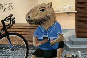 Петербургский бар «Хроники» — в рисунках посетителей. С грустным барменом и даже выпивающей капибарой!