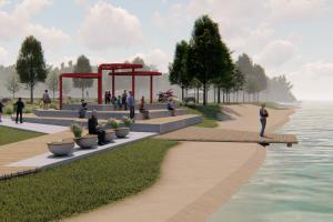 На набережной Глухарки начали обустраивать парк. В нем будут зоны отдыха, качели и альпийские горки
