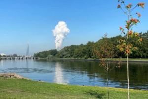 Петербуржцы снова заметили странное вертикальное облако на чистом небе! И снова энергетики говорят, что с их работой оно не связано