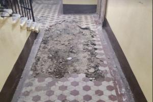 Жители Большой Пушкарской пытаются остановить демонтаж плитки в своей парадной. Они уверены, что покрытие историческое, в администрации в этом сомневаются