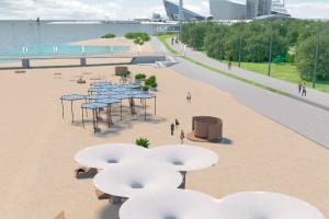 Пляж парка 300-летия благоустроят, а в Финском заливе построят три больших сооружения, выглядывающих из-под воды. Что известно о проекте и будут ли закрывать парк для горожан