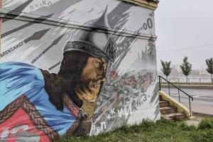 На Синопской набережной появился стрит-арт с изображением Александра Невского